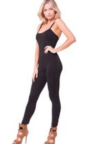 Black  Spaghetti Strap Solid Jump Suit