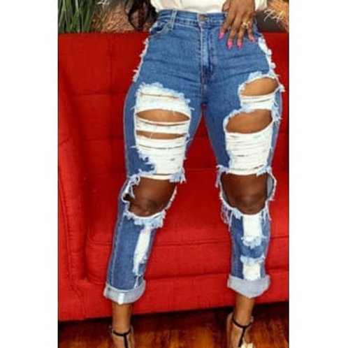Denim ripped jeans