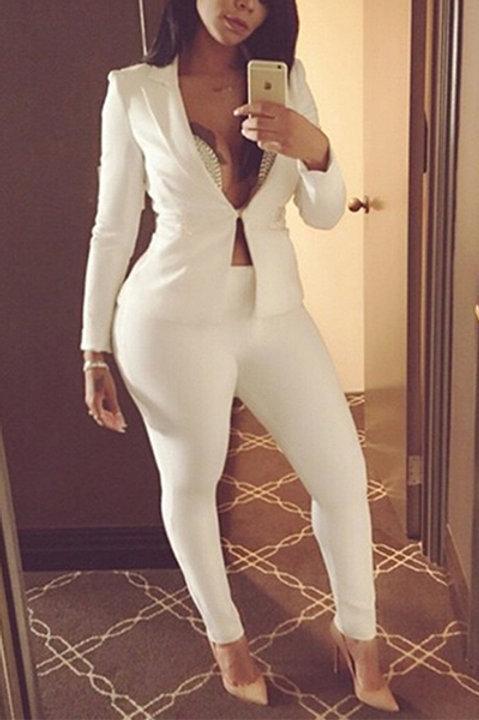 stylish turndown collar long sleeve white  polyester two piece pants set