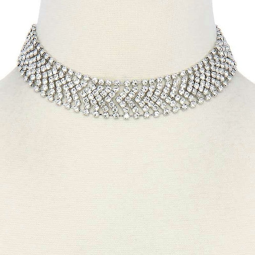 Rhinestone Silver choker necklace