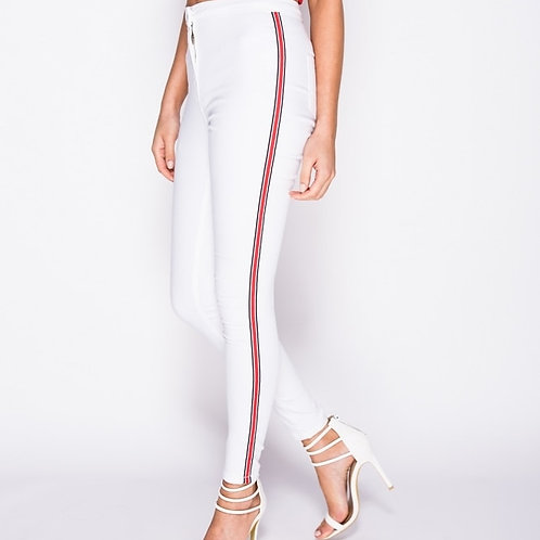 Side Strip high west jeggings White