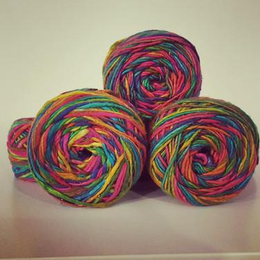 Worsted weight silk yarn