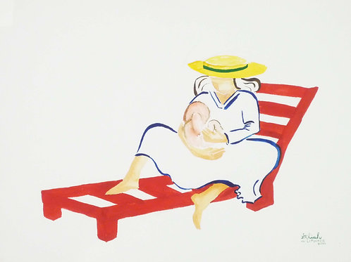 """Mom and Baby on Red Lounger"" 11"" x 14"" PRINT"