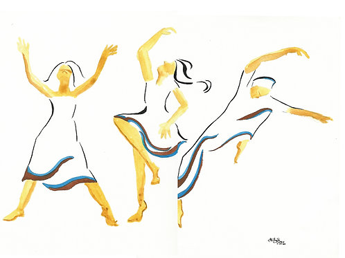 """Three Happy Dancers"" 11"" x 8.5"" PRINT"