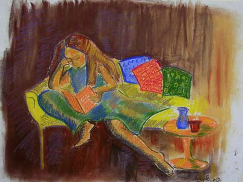 """""""Curling Up With a Good Book"""" 11"""" x 14"""" PRINT"""