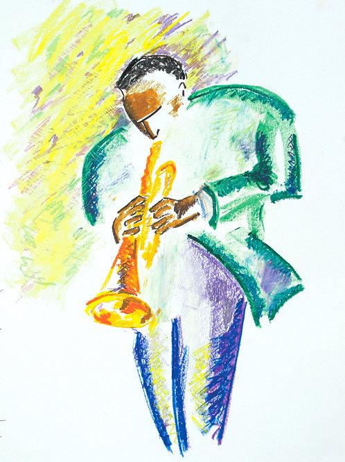 """""""Big Shouldered Trumpet Guy"""" PRINT"""