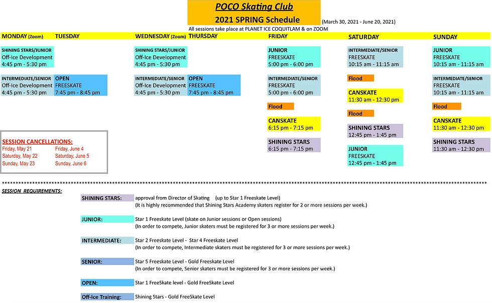POCO Skating Club Spring 2021 Schedule (