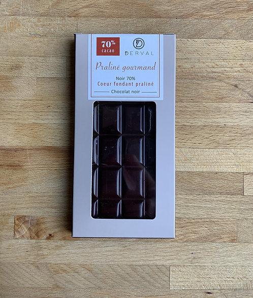 Tablette (fourrée) Praliné Gourmand 70% (noir)