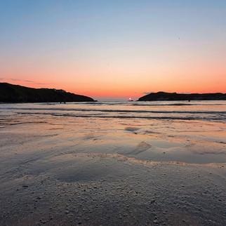 Evening sunset at Porth beach