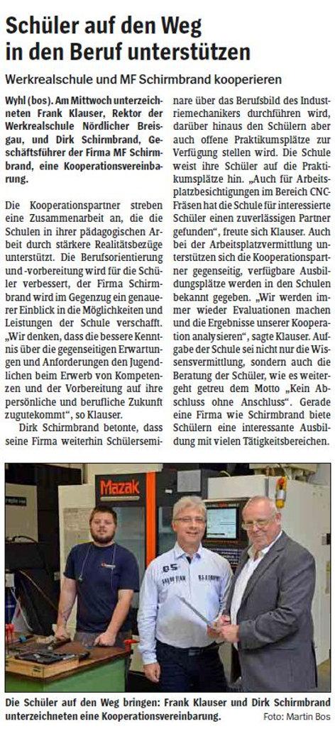 WRS Wyhl kooperiert mit MF Schirmbrand