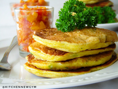 CORN PANCAKES WITH SPICY PINEAPPLE AND TOMATO JAM