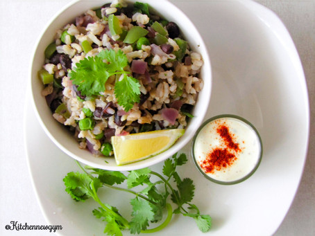 WARM RICE SALAD WITH A CREAMY DRESSING