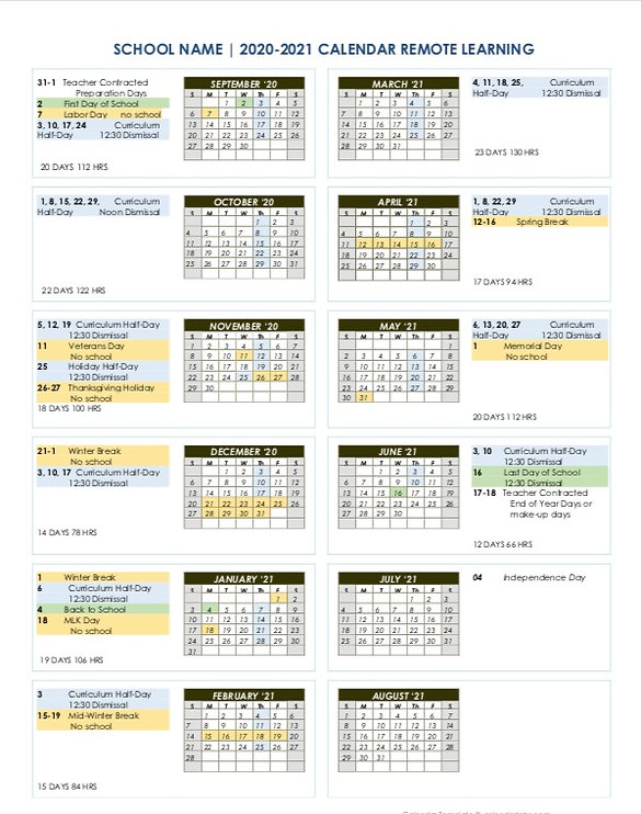 2020-21 Yearly calendar
