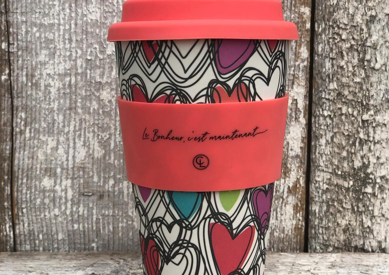 """Tasse à café en bambou  """"Le bonheur, c'est maintenant"""""""