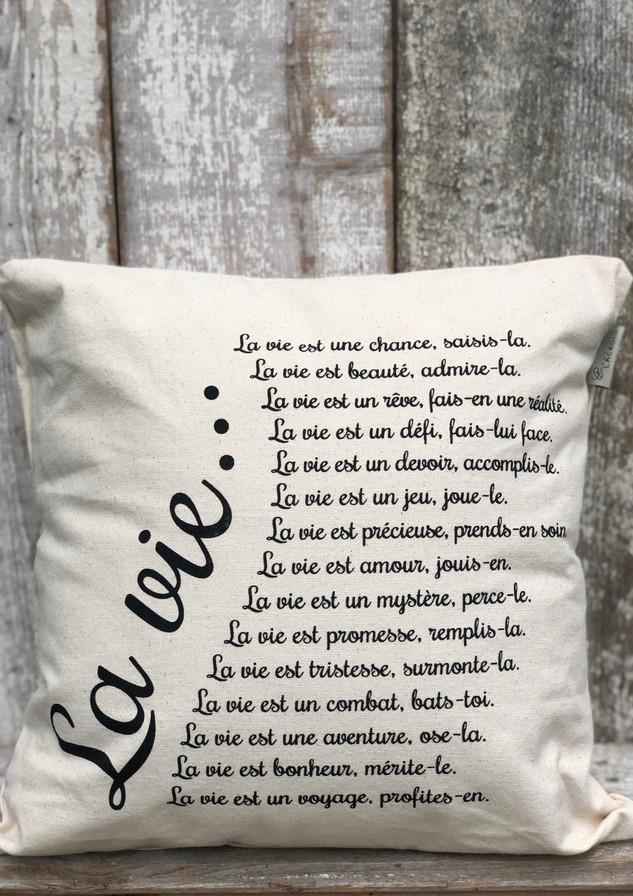 """Coussin """"La vie"""""""
