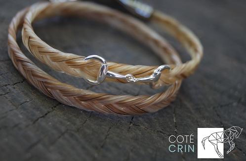 Bracelet fin avec mini mors en argent et fermoir acier gravé ou en argent