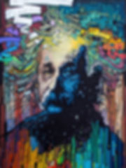 01_Timespace_Realist.jpg  Painted portrait of Albert Einstein. Bold, original, fine art. Art.