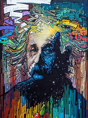 01_Timespace_Realist.jpg  Painted portrait of Albert Einstein. Bold, original, fine art. Art.