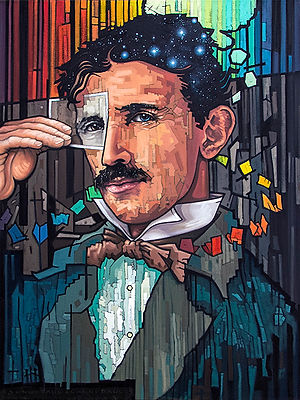 02_Timespace_VIsionary.jpg portrait of nikola tesla hand-painted in oil on canvas, original fne art