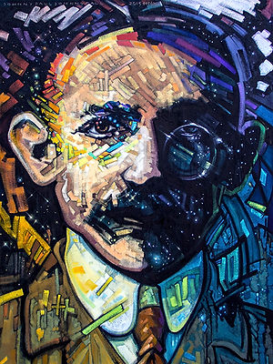 07_Timespace_Liberator.jpg portrait of Gandhi, oil painting, oil on canvas, fine art, image,