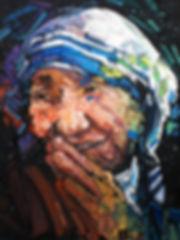 jpjp.ap08.teresa.jpg, painted portrait of mother teresa, oil on canvas, original.