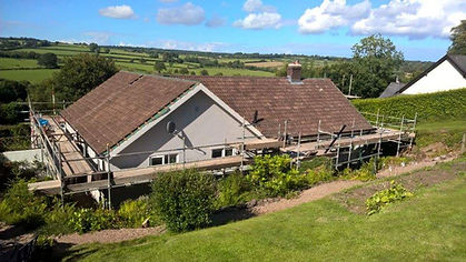 Re-roofing a house in the exmoor country side on a beautiful sunny day