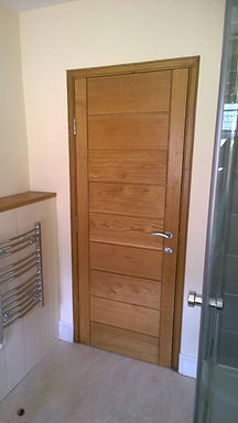 A internal european oak door that has been fitted to a heritage property in cullompton