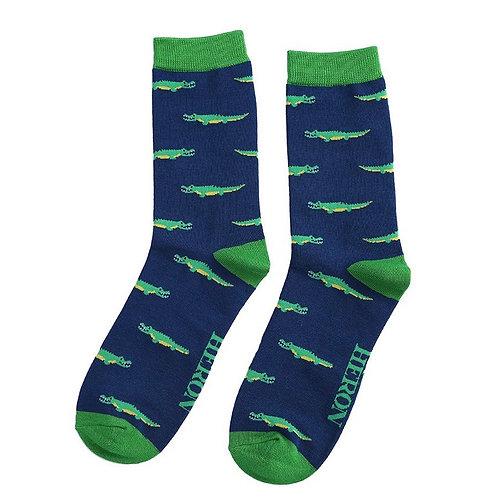 Sanau Crocodeils Nefi Mr Heron Navy Crocodile Socks