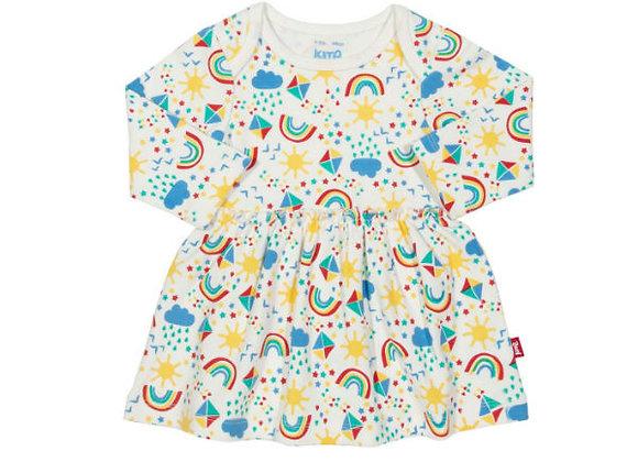 Ffrog Llewys Hir Enfys Kite Long Sleeve Rainbow Dress