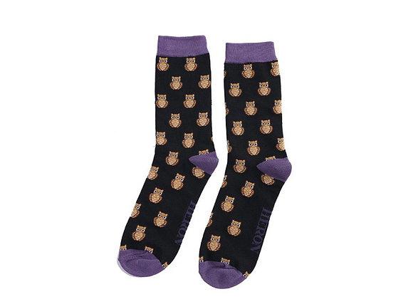 Sanau Du Gwdihws Mr Heron Black Owls Socks