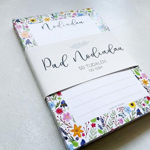 Pad Nodiadau Blodeuog A6 | A6 Welsh Floral Notepad