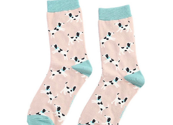 Sanau Cŵn Dalmatians Dusky Pink Miss Sparrow Dalmatians Socks
