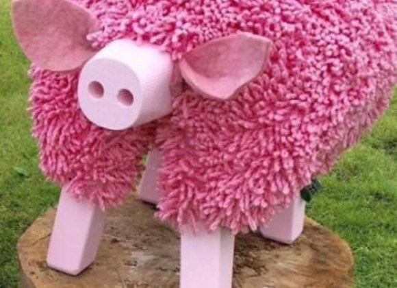 Mochyn Pinc Ewemoo Pink Pig footstool