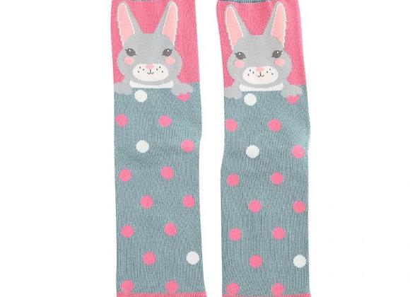 Sanau Cwningen Glas a Pinc Blue and Pink Bunny Miss SparrowSocks