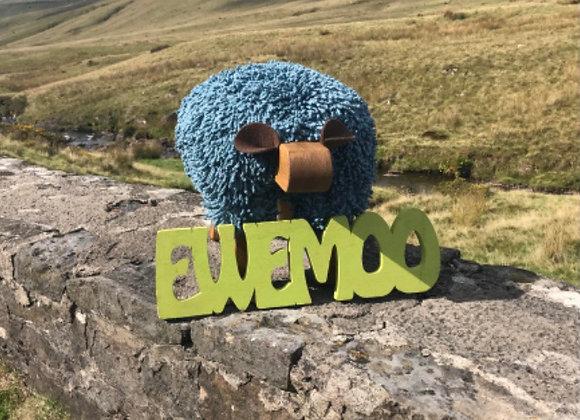 Ewemoo Footstool  Bluestone Cotton