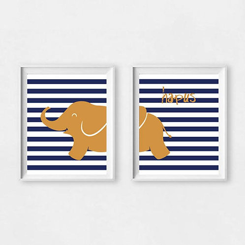 Print Eliffant Nefi Hapus / Happy Navy Elephant