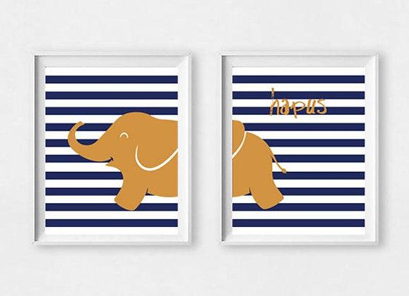 Print Eliffant Nefi Hapus / Happy Navy Elephant