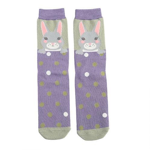 Sanau Cwningen Porffor a Gwyrdd Purple and Green Bunny Miss SparrowSocks