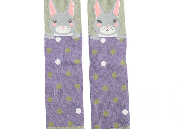 Sanau Cwningen Porffor a Gwyrdd Purple and Green Bunny Miss Sparrow Socks