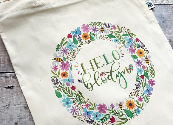 "Bag Cotwm Cymraeg Helo Blodyn/ Welsh Illustrated Tote Bag ""Hello Flower"""