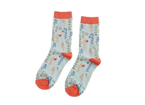 Sanau Blodau Gwyllt Duck Egg Miss Sparrow Wild Flower Socks