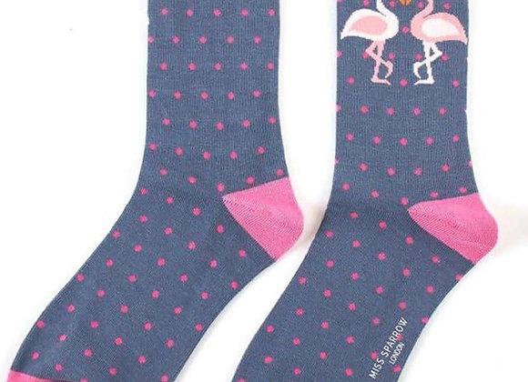 Sanau Kissing Flamingos Miss Sparrow Socks