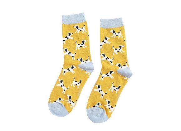 Sanau Dalmatians Melyn Miss Sparrow Yellow Dalatians Socks