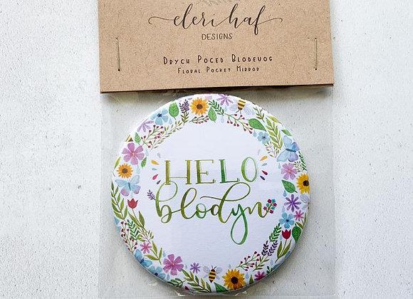 "Drych Poced Helo Blodyn/ Welsh Illustrated Pocket Mirror ""Hello Flower/Hello Lov"