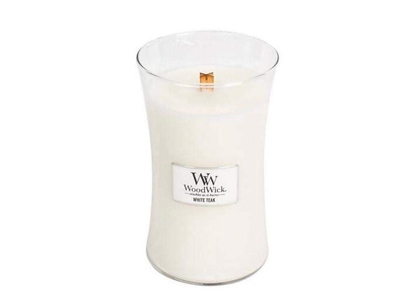 Cannwyll White Teak Woodwick Candle