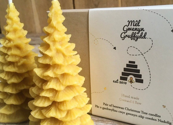 Pâr o gynhwyllau siâp coeden Nadolig Pair of beeswax Christmas tree candles