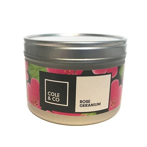 Cannwyll mewn Tin Rose Geranium Candle in a Tin