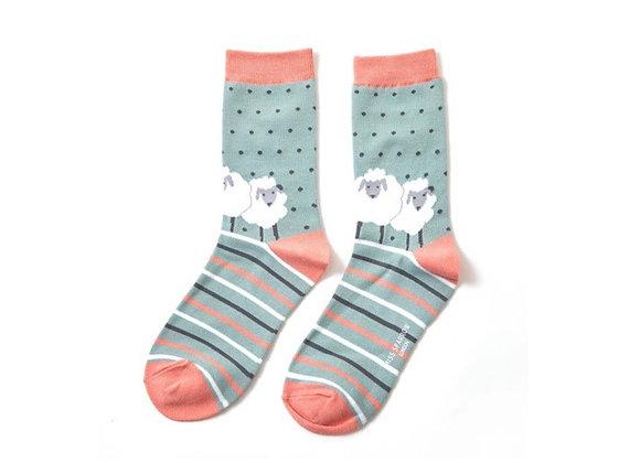 Sanau Defaid Gwyrdd Miss Sparrow Green Sheep Socks