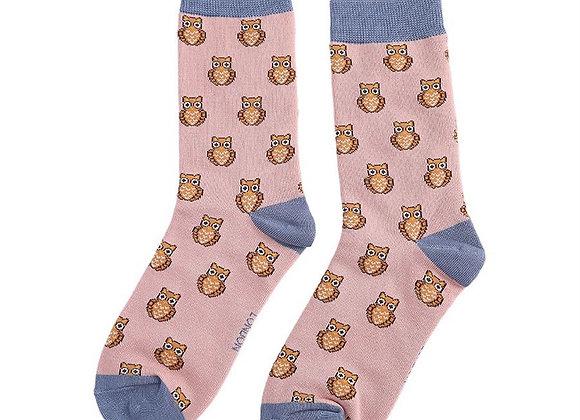 Sanau Gwdihws Dusky Pink Miss Sparrow Owls Socks