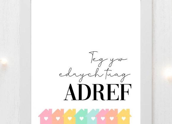 """Print Teg yw edrych tuah adref (10""""x8"""")"""